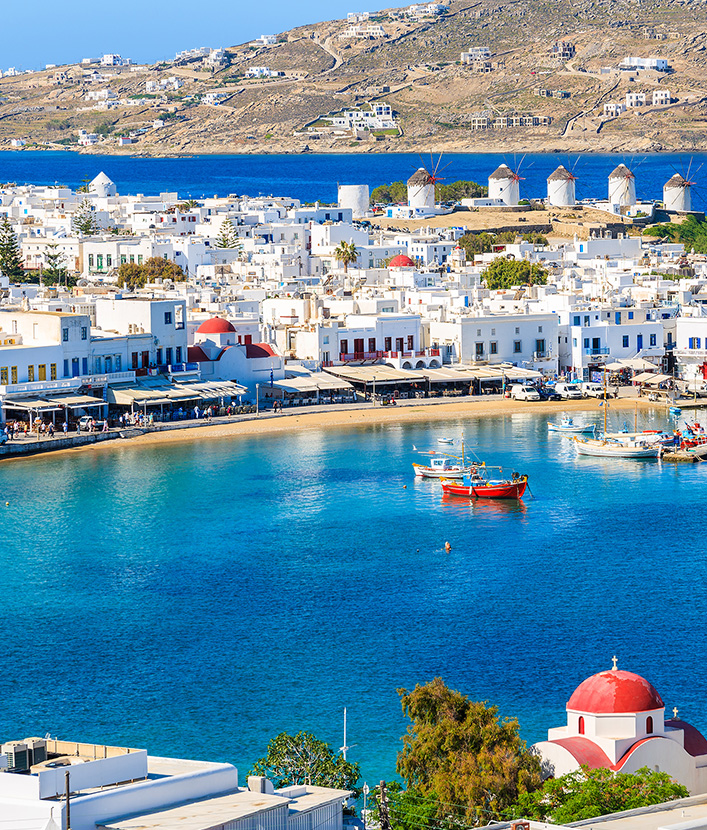 Mykonos town and bay